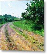 Curved Road Painting Metal Print