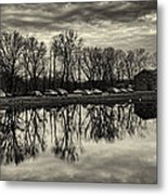 Cushwa Basin C And O Canal Black And White Metal Print
