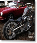 Custom Bike And Porsche Metal Print