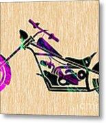 Custom Chopper Motorcycle Metal Print