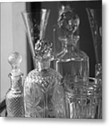 Cut Glass Crystal Decanters In Black And White 2 Metal Print