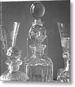 Cut Glass Decanters In Black And White Metal Print