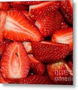 Cut Strawberries Metal Print