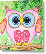 Cute As A Button Owl Metal Print
