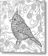 Cute Bird In Fantasy Flower Garden Metal Print