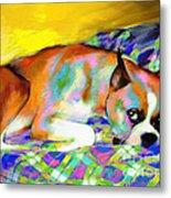 Cute Boxer Dog Portrait Painting Metal Print by Svetlana Novikova