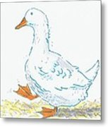 Cute Duck Cartoon Metal Print