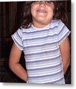 Cute Girl In Purple Blouse Metal Print