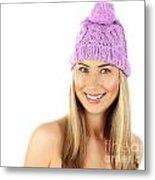 Cute Girl Wearing Pink Winter Hat Metal Print
