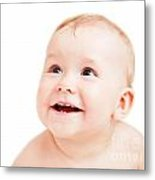 Cute Happy Baby Smiling On White Metal Print