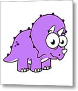 Cute Illustration Of A Triceratops Metal Print