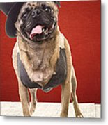Cute Pug Dog In Vest And Top Hat Metal Print