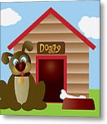 Cute Puppy Dog With Dog House Illustration Metal Print