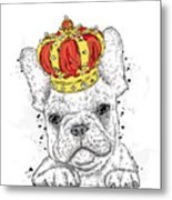 Cute Puppy Wearing A Crown. French Metal Print