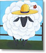 Cute Sheep Nursery Art Metal Print by Christy Beckwith