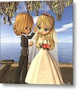 Cute Toon Wedding Couple On A Seaside Balcony Metal Print