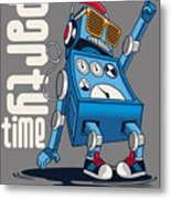 Cute Vintage Dancer Robot, Party, Vector Metal Print