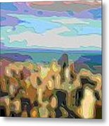 Cutout Art Ocean Skyline Metal Print