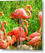 Cutout Layer Art Animal Portrait Flamingo Metal Print
