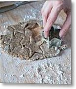 Cutting Christmas Cookies Metal Print