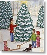 Cutting Our Tree Metal Print