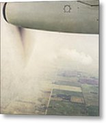Cutting Through The Fog With Turboprop Over Alberta Metal Print