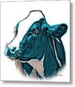 Cyan Cow Holstein - 0034 Fs Metal Print