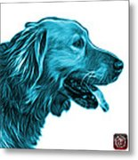 Cyan Golden Retriever - 4047 Fs Metal Print