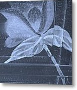 Cyan Negative Wood Flower Metal Print