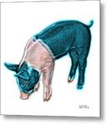 Cyan Piglet - 0878 Fs Metal Print