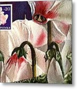 Cyclamen Painting With Stamp Metal Print