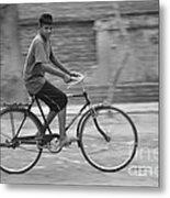 Cycling Boy Metal Print
