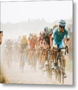 Cycling In The Dust Metal Print