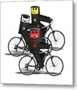 Cycling Recycle Bins Metal Print