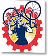 Cyclist Bicycle Mechanic Carrying Bike Sprocket Retro Metal Print by Aloysius Patrimonio
