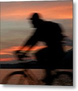 Cyclist In Motion Metal Print