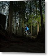 Cyclist In Mountain Forest Metal Print