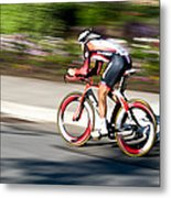 Cyclist Racing The Clock Metal Print