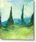 Cypress Trees On A Hill Side Metal Print