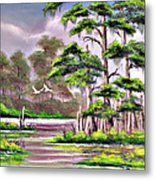 Cypress Trees-wakulla River Florida Metal Print