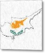 Cyprus Painted Flag Map Metal Print