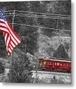 Cyrus K. Holliday Rail Car And Usa Flag Bwsc Metal Print