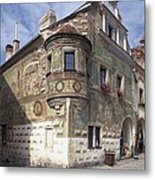 Czech Rep.. Telc. Fa�ade Of The House Metal Print