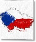 Czech Republic Painted Flag Map Metal Print