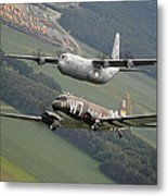 D Day Past And Present Metal Print