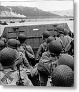 D-day Soldiers In A Higgins Boat  Metal Print by War Is Hell Store