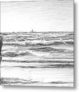 Dad And Son Beach Pencil Portrait Metal Print