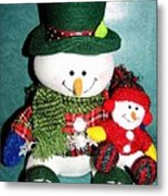 Daddy And Baby Snowmen Decorations Metal Print