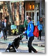 Daddy Pushing Stroller Greenwich Village Metal Print