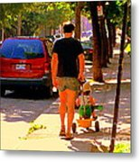 Daddy's Little Buddy Perfect Day Wagon Ride Montreal Neighborhood City Scene Art Carole Spandau Metal Print